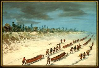 La Salle Crossing Lake Michigan on the Ice.  December 8, 1681