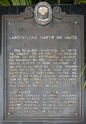 Thirteen Martyrs of Cavite - The historical marker of the monument in Trece Martires City