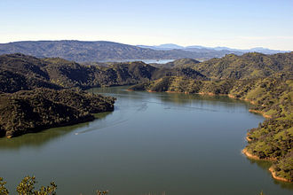 Monticello Dam - The lower section of Lake Berryessa near Portuguese Canyon, seen looking upstream