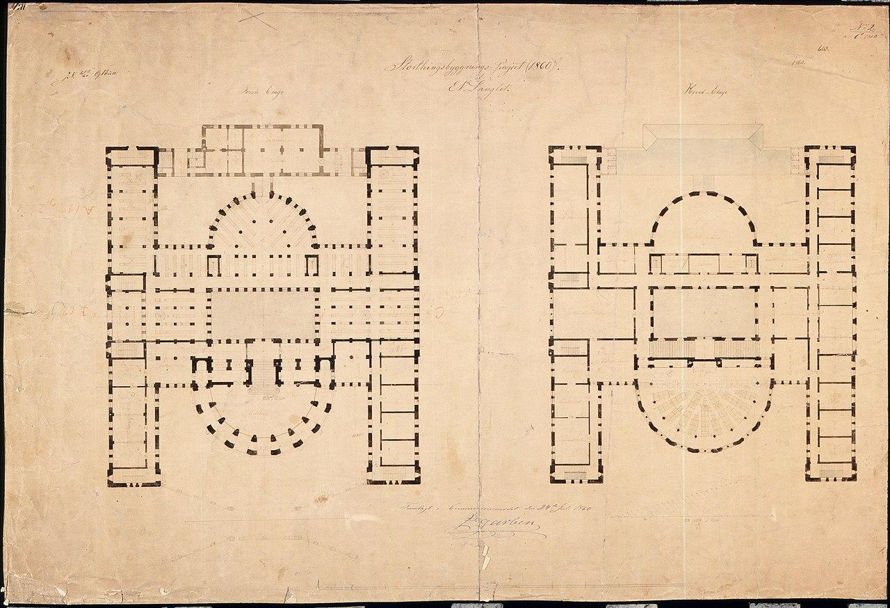File Langlet S Floor Plan Of Norwegian Parliament Building Stortingsbygningen 1860 Jpg Wikimedia Commons