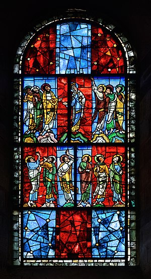 Le Mans Cathedral - Oldest stained glass window in situ, depicting the Virgin and apostles during the Ascension of the Christ.