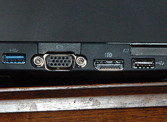 USB 3.0 - Side connectors on a laptop computer. Left to right: USB 3.0 host, VGA connector, DisplayPort connector, USB 2.0 host. Note the additional pins on the top side of the USB 3.0 port.