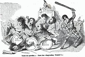 Émile de Girardin - Satirical cartoon on parlamentarians. Girardin is the Harlequin-dressed who brandish a stick