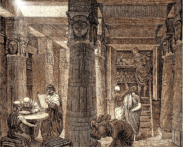 File:Library of Alexandria (sepia).jpg