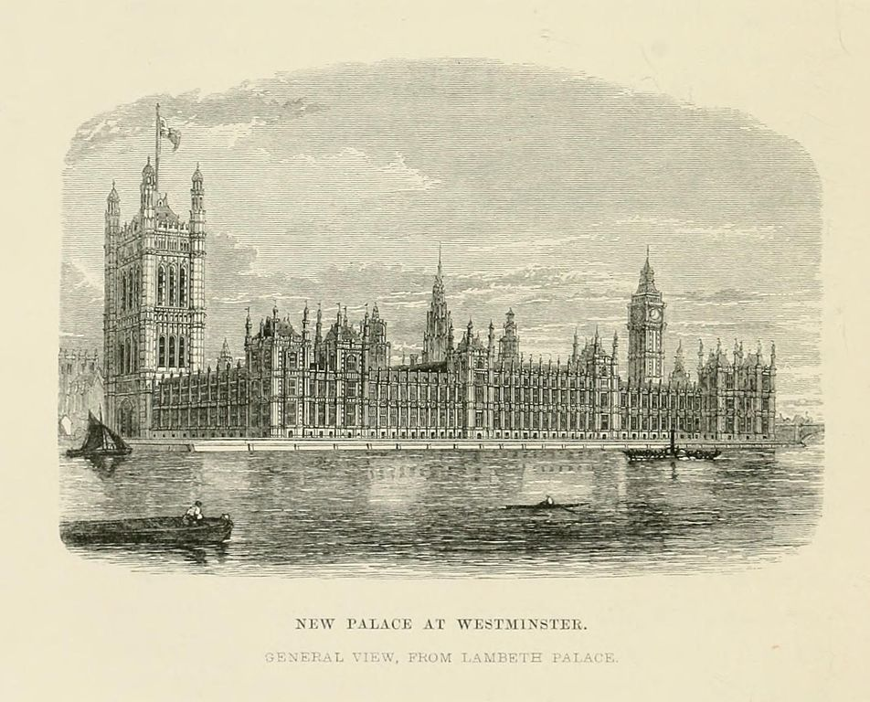 Palais de Westminster à Londres, illustration d'Alfred Barry.
