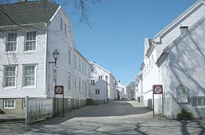 Lillesand - Øvre gate with picturesque, white wooden houses in the town center of Lillesand