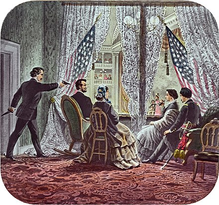 Shown in the presidential booth of Ford's Theatre, from left to right, are assassin John Wilkes Booth, Abraham Lincoln, Mary Todd Lincoln, Clara Harris, and Henry Rathbone Lincoln assassination slide c1900 - Restoration.jpg
