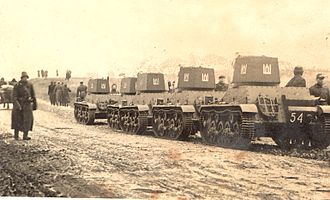 Background of the occupation of the Baltic states - Lithuanian tanks heading to Vilnius in 1939 after the Soviet–Lithuanian Mutual Assistance Treaty.