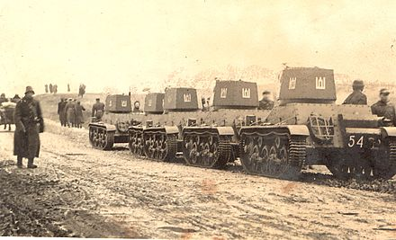 Lithuanian tanks heading to Vilnius in 1939 after the Soviet-Lithuanian Mutual Assistance Treaty. Lithuanian tanks heading to Lithuanian capital Vilnius in 1939.jpg