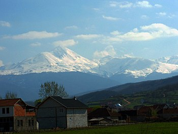 Ljuboten peak, Šar Mountains, view from the Uroševac.jpg
