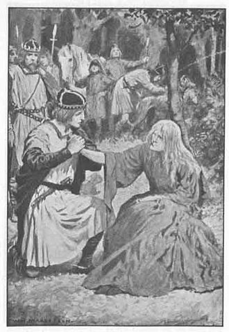 "Loathly lady - ""Lady, I will be a true and loyal husband."" Gawain and the loathly lady in W. H. Margetson's illustration for Maud Isabel Ebbutt's Hero-Myths and Legends of the British Race (1910)"