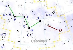 Rho Cassiopeiae - Image: Location of Rho Cassiopeiae