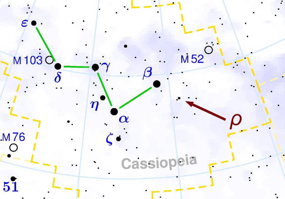 Location of Rho Cassiopeiae