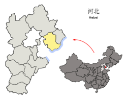 Location of Tangshan City jurisdiction in Hebei