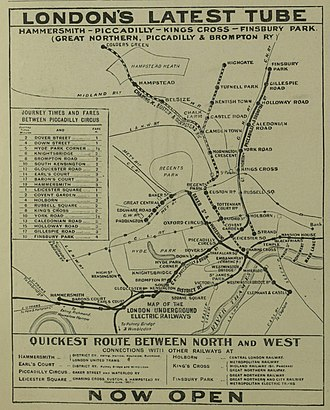 Great Northern, Piccadilly and Brompton Railway - Newspaper advertisement for the opening of the Piccadilly Tube