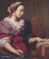 Allegory of Music (ca. 1594), a painting of a woman writing sheet music
