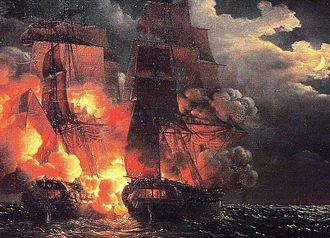 HMS Amelia (1796) - The fight of the French frigate Aréthuse and Amelia on the shores of Guinea, 7 February 1813, by Louis-Philippe Crepin