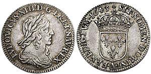 Jean Varin - Douzième d'écu de Louis XIII (cinq sols)