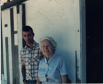 Lucienne Bloch - Composer Alexander Kaloian and Bloch in Gualala, 1985 (photo: Stephen Pope Dimitroff)