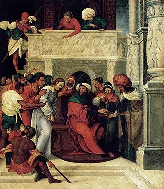 Ludovico Mazzolino - Image: Ludovico Mazzolino Christ before Pilate WGA14719