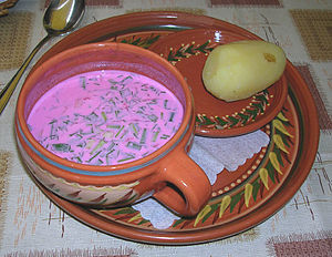 Lithuanian cuisine - The lurid pink colour of traditional Lithuanian cold borscht. Often eaten with a hot boiled potato, sour cream and dill.