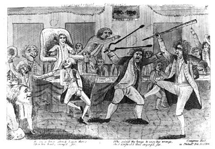 Drawing depicting a brawl between congressmen Matthew Lyon and Roger Griswold, which took place at one of Blount's impeachment hearings in January 1798