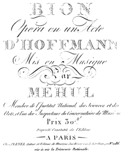 Méhul - Bion - title page of the score, Paris 1800.png