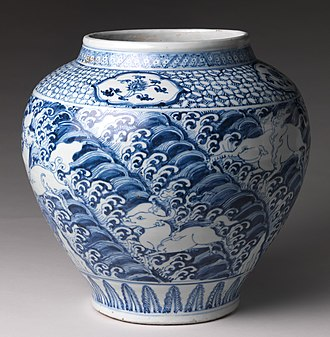 Blue and white pottery - Chinese blue and white jar, Ming dynasty, mid-15th century