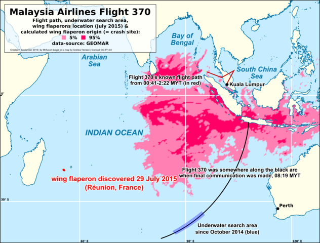 Map of search for Malaysian Airlines Flight 370 By MrAurum based on File:Reunion_debris_compared_to_MH370_flight_path_and_underwater_search_area.svg by User:AHeneen [CC BY 4.0 (http://creativecommons.org/licenses/by/4.0)], via Wikimedia Commons