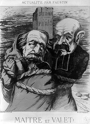 "Louis-Jules Trochu - 1871 caricature showing Napoleon III dressed as a monk and Louis Jules Trochu dressed as a member of the clergy, tied to a post labeled ""L'homme de Sedan. L'homme de Paris."" Both men were held responsible for the French defeat which ended the Franco-Prussian War."