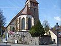 Magstadt-Ansicht von Osten mit Kirche über erster und zweiter Kirchhofmauer-270408.jpg