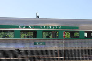 Maine Eastern Railroad - Maine Eastern train at the Amtrak station in Brunswick, Maine
