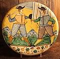 Maiolica di montelupo, piatto con due figure, 1620-40 ca..JPG