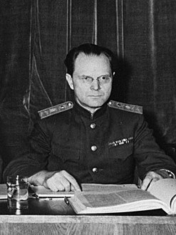 Major General I.T. Nikitchenko - Soviet judges at Nuremberg, 1945 (cropped).jpg