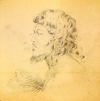 Gilbert Islands - Portrait of a native of the Makin islands, drawn by Alfred Thomas Agate (1841)