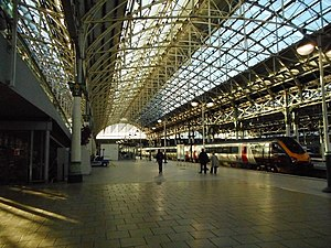 Manchester Piccadilly station - The interior of the Victorian trainshed.