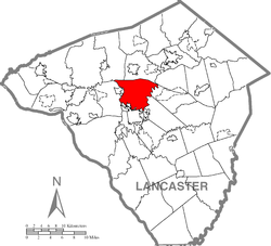 Map of Lancaster County highlighting Manheim Township