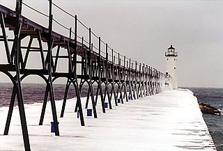 Manistee Pierhead lights lighthouse in Michigan, United States