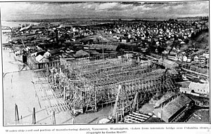 Vancouver, Washington - Wooden ship yard in Vancouver, 1918