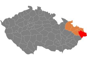 Vị trí huyện Frýdek-Místek trong vùng Moravia–Silesia trong Cộng hòa Séc