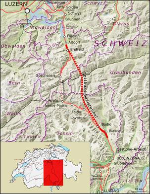 Strecke der Gotthard-Basistunnel