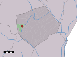 The village (dark red) and the statistical district (light green) of Westdorp in the municipality of Borger-Odoorn.