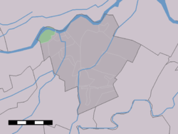 The village (dark green) and the statistical district (light green) of Tienhoven aan de Lek in the former municipality of Zederik.