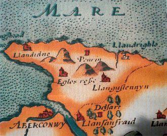 Madoc - A map of c. 1577 depicting Conwy, Penrhyn, and Llandrighno (Rhos-on-Sea)