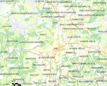 Map of the commune of Gap