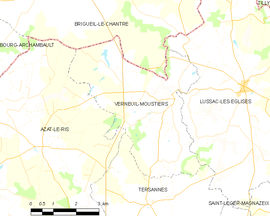 Mapa obce Verneuil-Moustiers