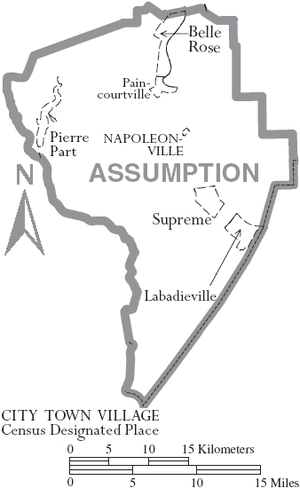 Assumption Parish, Louisiana - Map of Assumption Parish, with municipal labels
