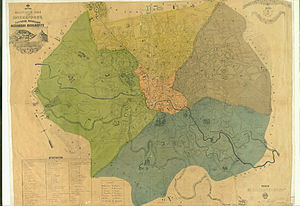 Sectors of Bucharest - The five culori in 1871