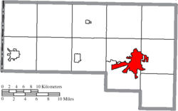 Location of Defiance in Defiance County