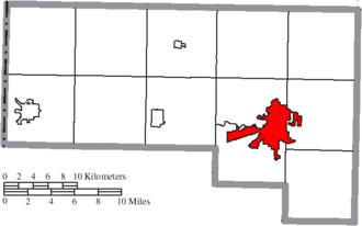 Defiance, Ohio - Image: Map of Defiance County Ohio Highlighting Defiance City